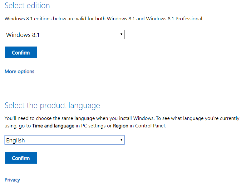 Select the edition and language and click Confirm for Windows 8.1 password factory reset