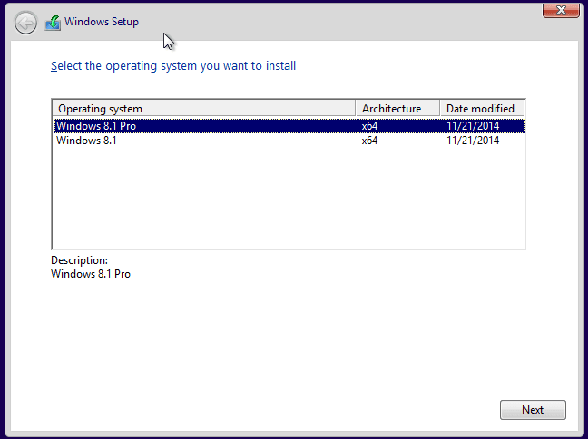 Select Windows editions from Windows 8.1 pro and Windows 8.1