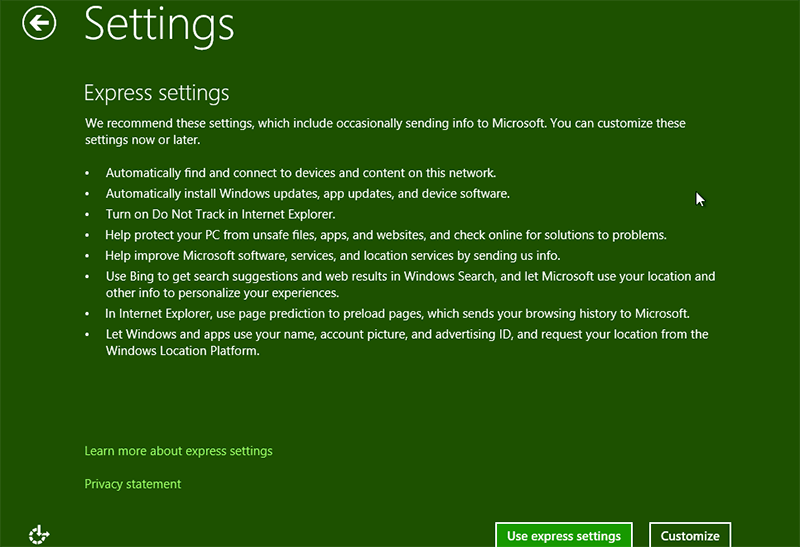 Setting in the process of windows 8.1 administrator password reset