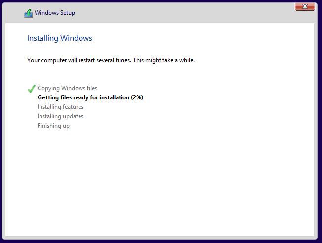 Nehmen Sie sich eine Weile Zeit bei der Installation von Windows