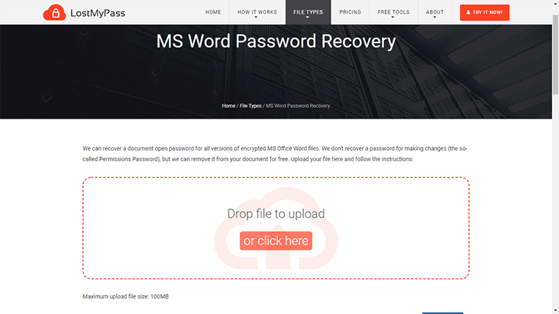 upload word document on Lostmypass.com