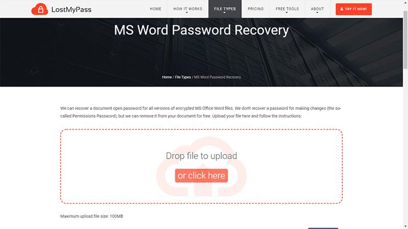 télécharger un document Word sur Lostmypass.com