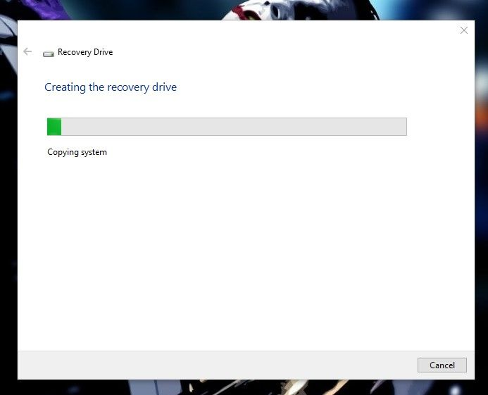 wait for the Windows to create a bootable Recovery Drive