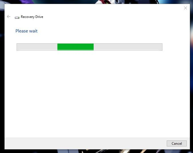 wait to load Recovery Drive to create hp recovery disk
