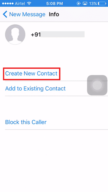 choose the Create New Contact option from the list