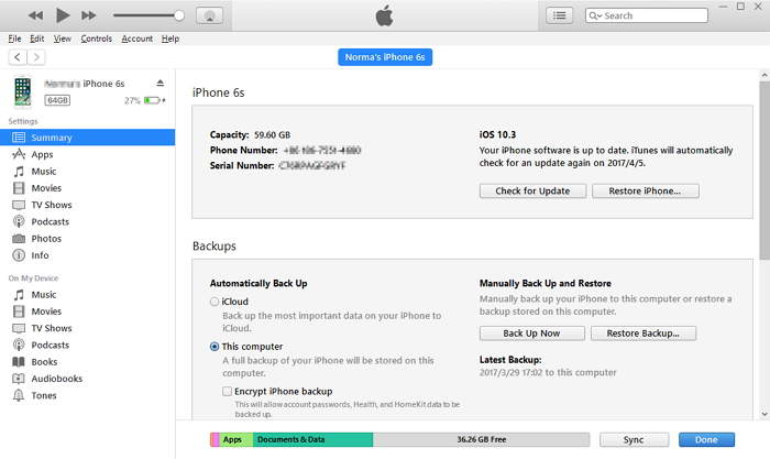 go to the summary tab and click restore backup if locked out of iPhone