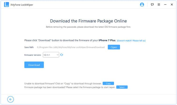 download the firmware package to fix disabled iPad