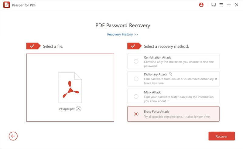 select the attack type to recover pdf password
