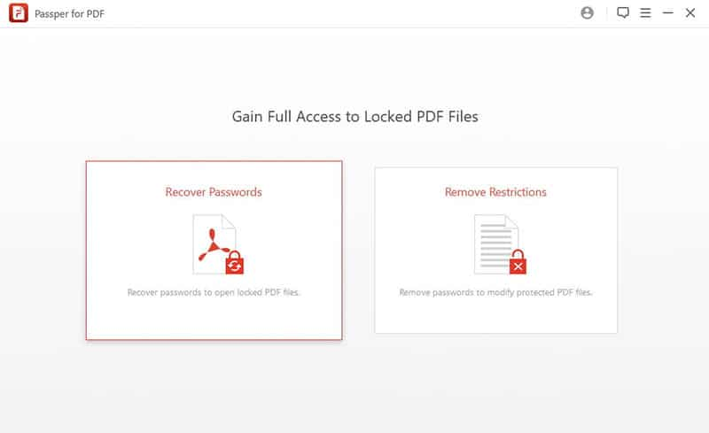 select the Recover Password option for locked pdf files