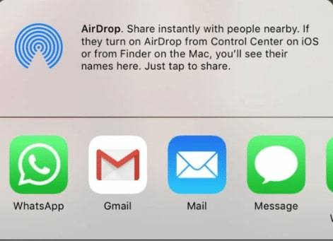 iPhone airdrop share instantly tap on the message icon