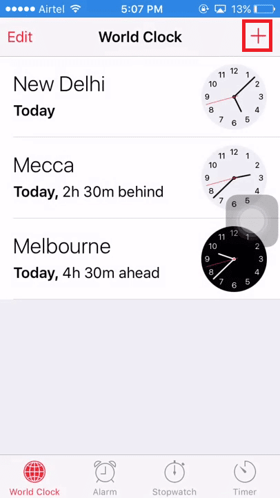 Tap on icon on the world clock interface