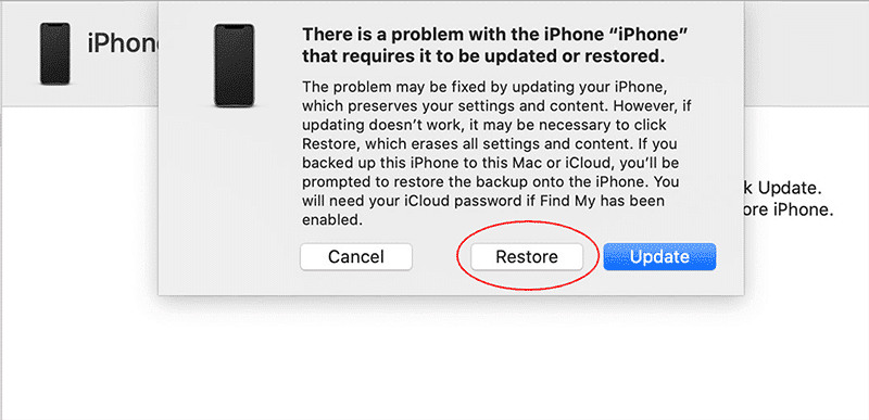 Removing passcode using iTunes