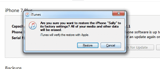 "click on the ""restore"" if notification arises"
