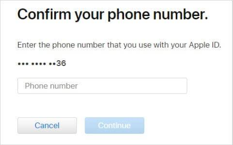 enter the phone-number and hit the continue button
