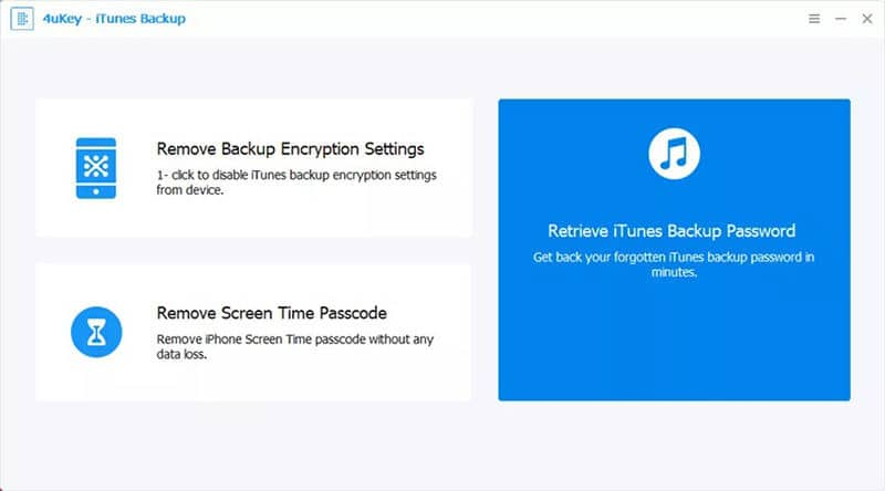 Select Retrieve iTunes Backup Password