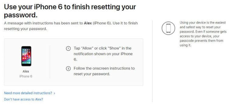 instructions on how to reset iCloud account