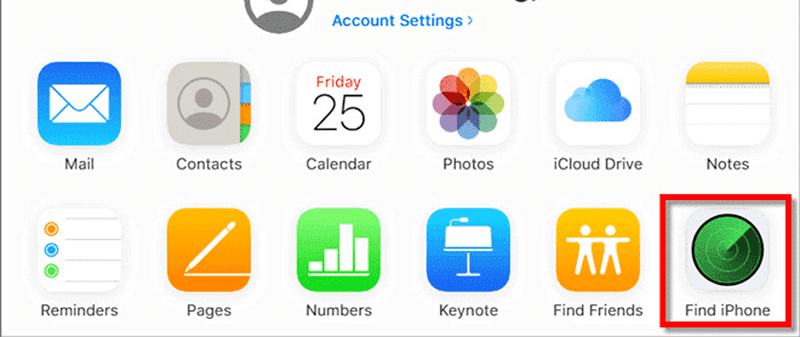 select find iphone from the icloud dashboard