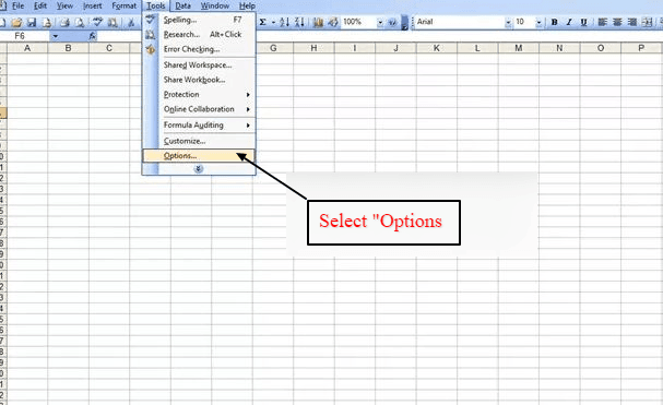select options under tools