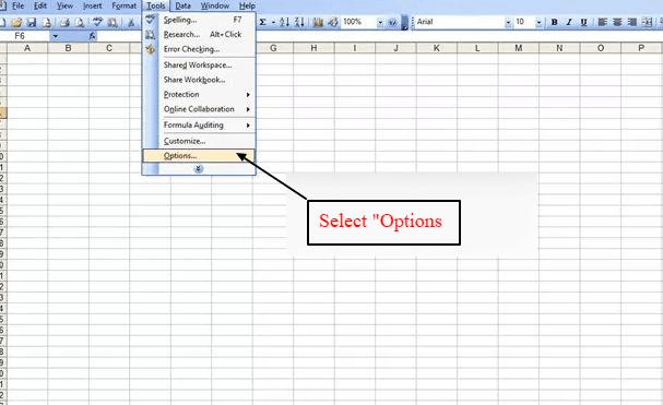 sélectionnez les options en bas des outils