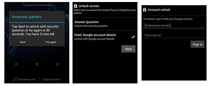 unlock android phone password using google account steps