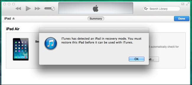 Click OK to restore locked ipad or ipad mini via iTunes
