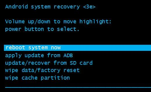 "move to the ""reboot system now"" and confirm with power key"