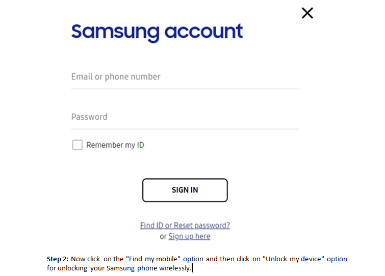 Sign in to Samsung Account to reset a locked phone