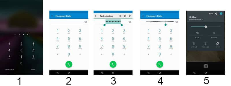 steps to unlock Android lock screen using emergency call