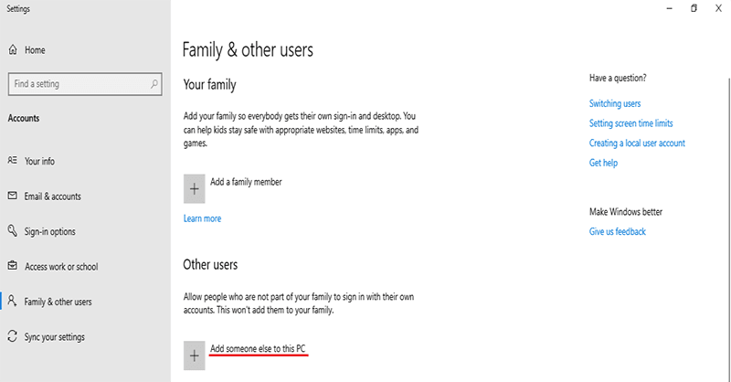 "click ""Add someone else to this PC"" to remove Microsoft account"