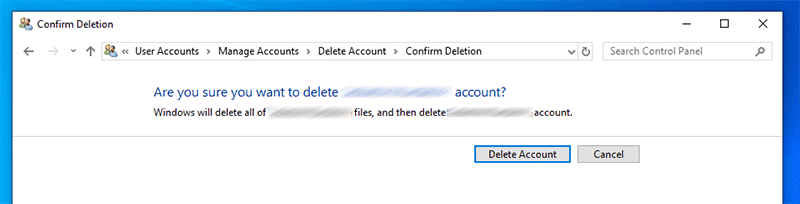 "Click ""Delete account"" to confirm removing Microsoft account"