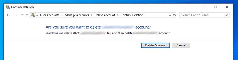 """Cliquez sur """"Delete account"""" pour confirmer l'action de la suppression du compte de Microsoft"""