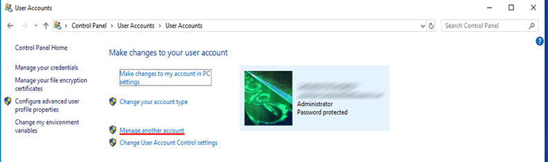 "Click ""Manage another account"" to remove Microsoft account from laptop or computer"