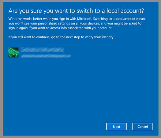 "Click ""Next"" to continue removing Microsoft account"
