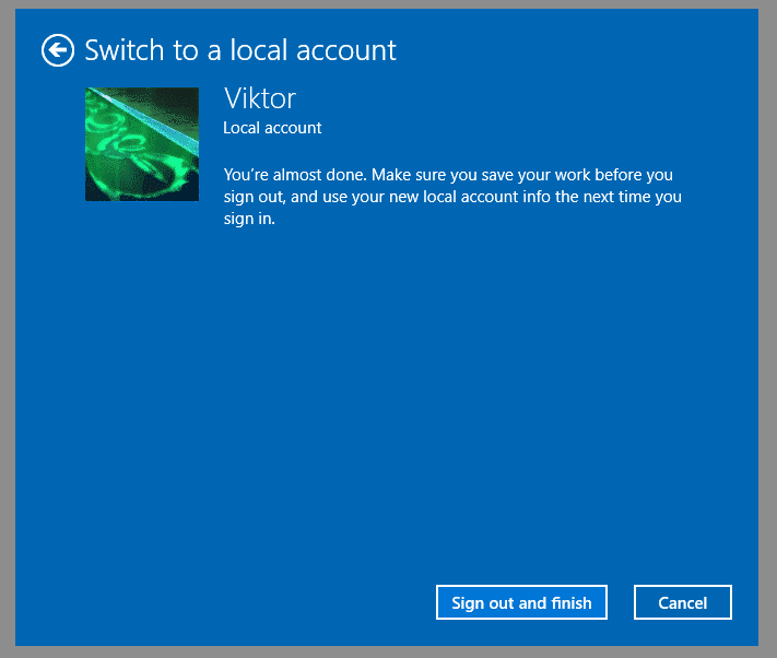 """Cliquez sur """"Sign out and finish"""" pour terminer la suppression du compte de Microsoft"""