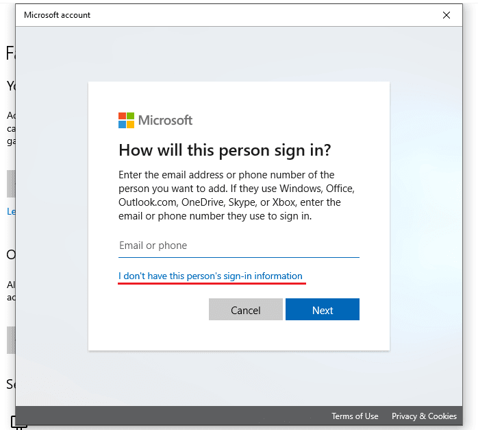 "Click the link ""I don't have this person's sign-in information"" to remove Microsoft account"