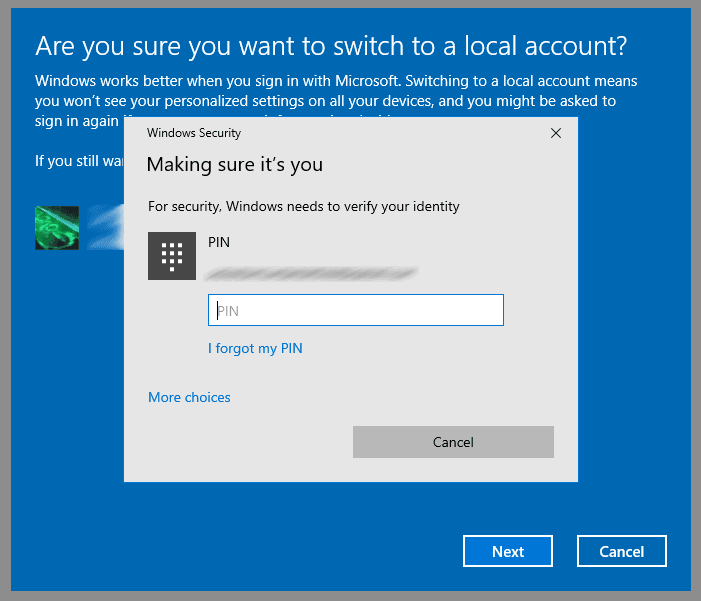 enter the PIN to confirm removing Microsoft account