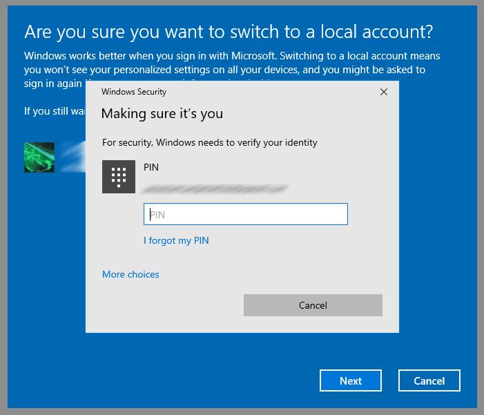 entrez le PIN pour confirmer la suppression du compte de Microsoft