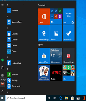 go to start menu to remove Microsoft account from Windows 10