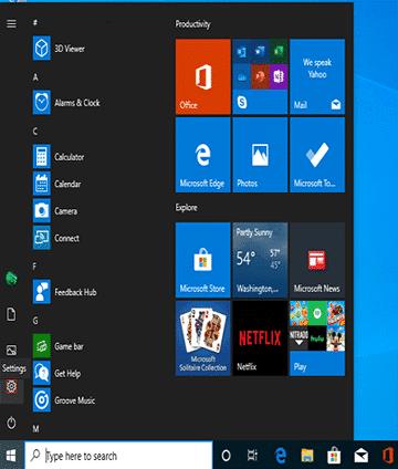 allez au menu de Démarrage pour supprimer le compte de Microsoft de Windows 10