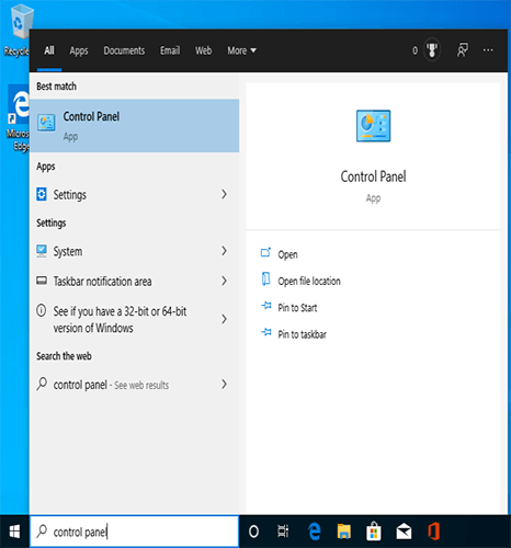 """Cherchez """"Control Panel"""" pour supprimer le compte de Microsoft"""