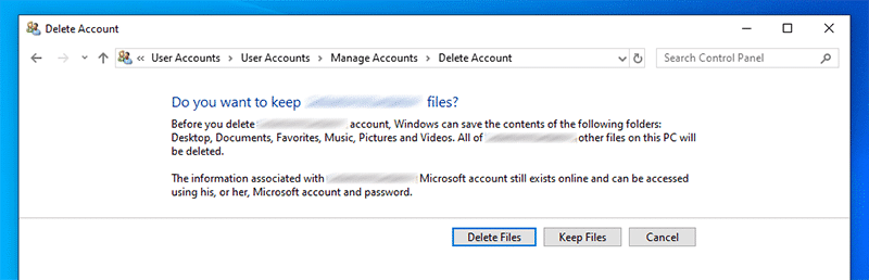 select delete or keep files while removing Microsoft account