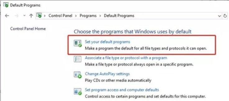 click on the Set your default program option