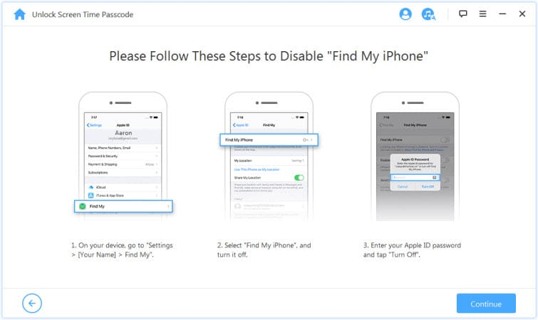 click on continue after disabling find my iPhone feature