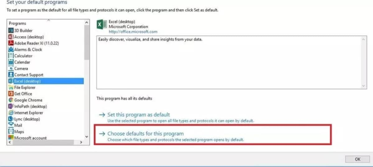 select the Choose default program for this program option