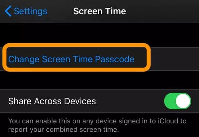 tap on change screen time passcode option