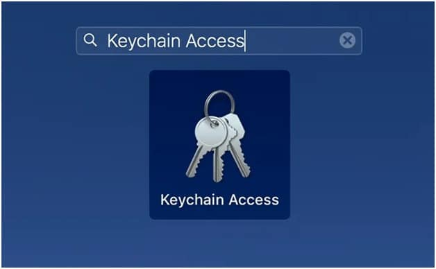 enter keychain access in the search bar