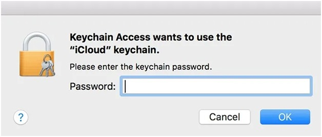 enter the keychain password in the box