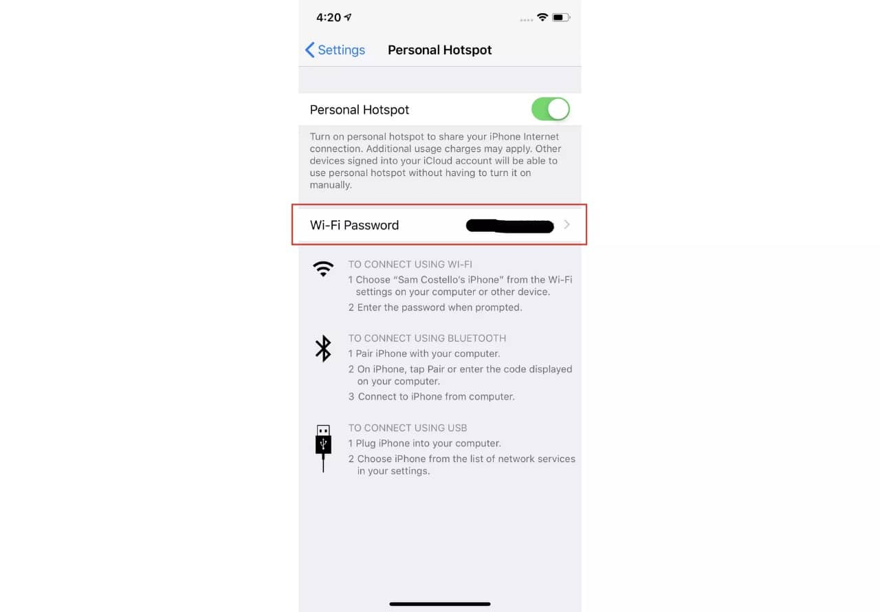 follow the process to view personal hotspot password on your iphone