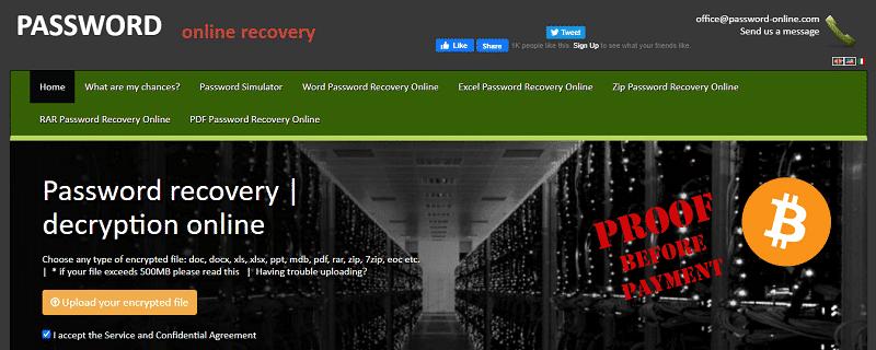 recover password of RAR file online